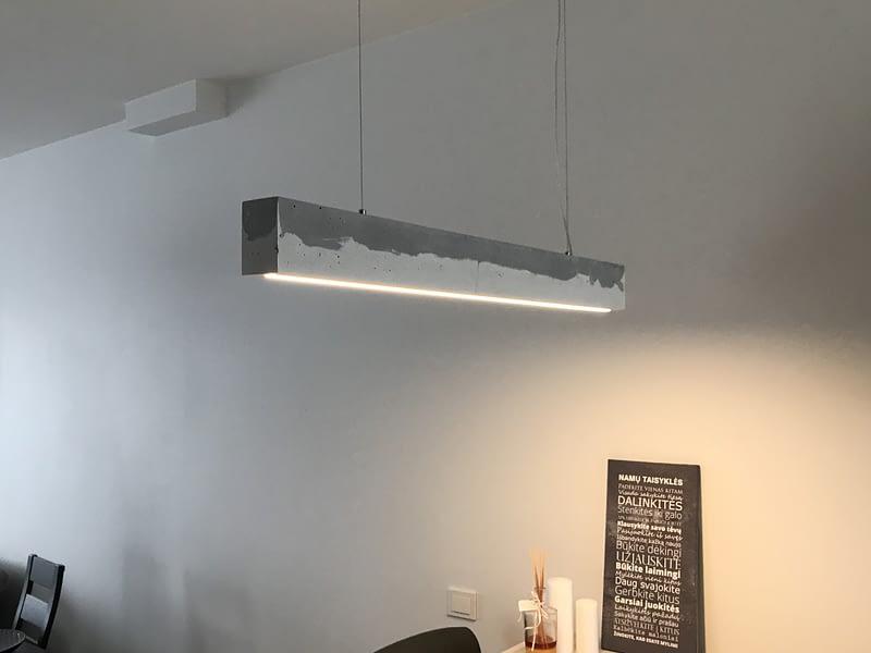 led šviestuvas iš betono